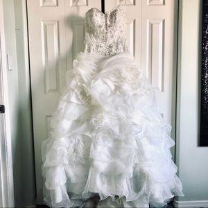 Wedding Dress: Strapless, Beaded, Ruffled, Flowers